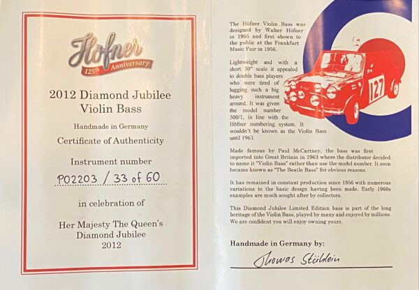 2003 Hofner Beatle Bass -Diamond Jubilee - Left